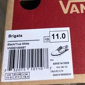 Vans Shoes - NWT VANS Brigata Black white Kid's AUTHENTIC